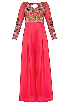 Fuchsia Pink Embroidered Jumpsuit With Crystal Belt by Aisha Rao