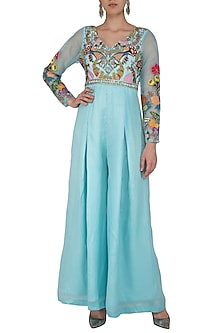 Avatar Blue Embroidered Jumpsuit With Crystal Belt by Aisha Rao