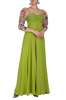 Forest green Embroidered Maxi Dress by Aisha Rao