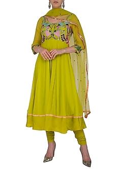 Lime Green Embroidered Anarkali Set by Aisha Rao