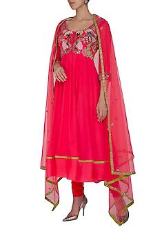 Fuchsia Pink Embroidered Anarkali Set by Aisha Rao