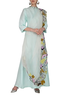 Powder Blue Embroidered Draped Dress by Aisha Rao
