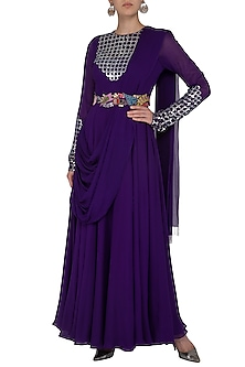 Grapevine Purple Embroidered Gown With Drape & Belt by Aisha Rao