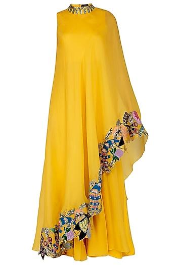 Crayola Mango Embroidered Draped Saree Dress by Aisha Rao