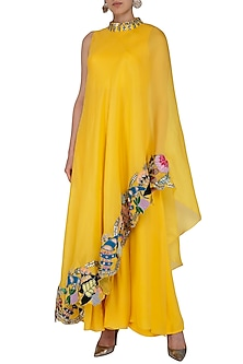 Crayola Mango Embroidered Draped Saree Dress by Aisha Rao
