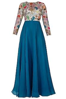 Cyan Blue Embroidered Maxi Dress by Aisha Rao