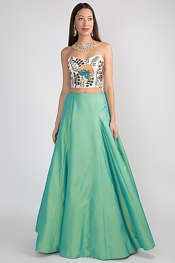 Green Skirt With Embroidered Bustier by Aisha Rao