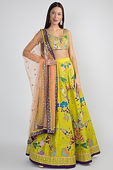 Lime Green Embellished Lehenga Set by Aisha Rao