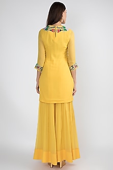 Yellow Embellished Sharara Set by Aisha Rao