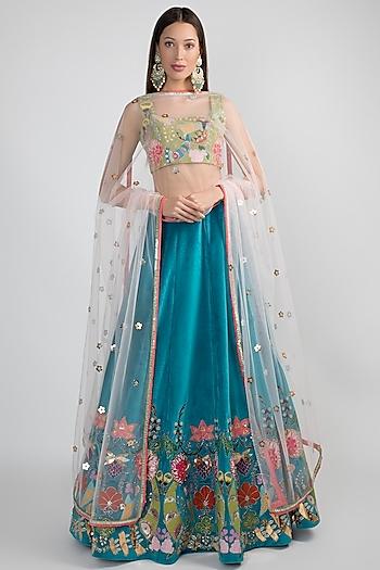 Cobalt Blue Embellished Lehenga Set by Aisha Rao