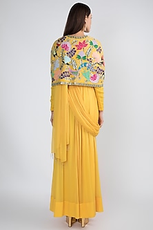 Yellow Draped Gown With Embellished Cape by Aisha Rao