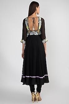 Black Embellished Anarkali Set by Aisha Rao