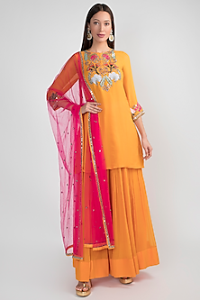 Yellow & Pink Embroidered Sharara Set by Aisha Rao