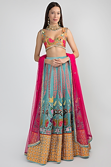 Sky Blue Embellished Lehenga Set by Aisha Rao