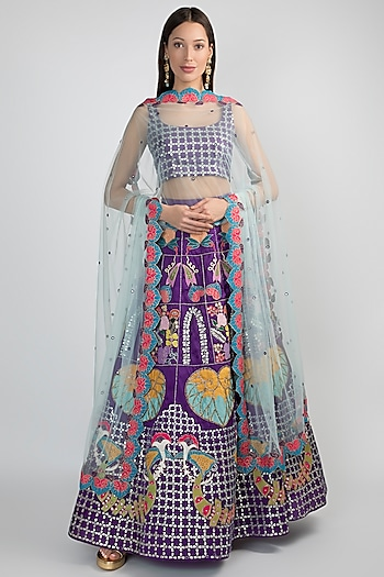 Purple Embellished Lehenga Set by Aisha Rao