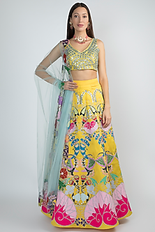 Mango Yellow Embellished Lehenga Set by Aisha Rao