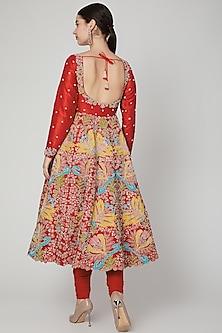Red Embellished Anarkali Set by Aisha Rao
