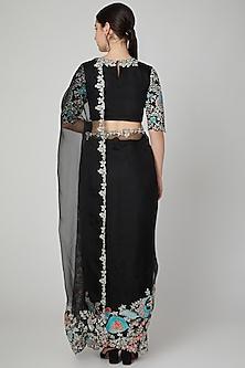 Black Embellished Saree Set by Aisha Rao