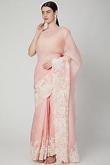 Blush Pink Embellished Saree Set by Aisha Rao