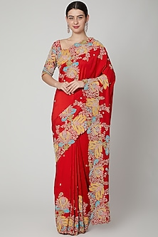Red Zardosi Embellished Saree Set by Aisha Rao
