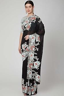Black Applique Embellished Saree Set by Aisha Rao
