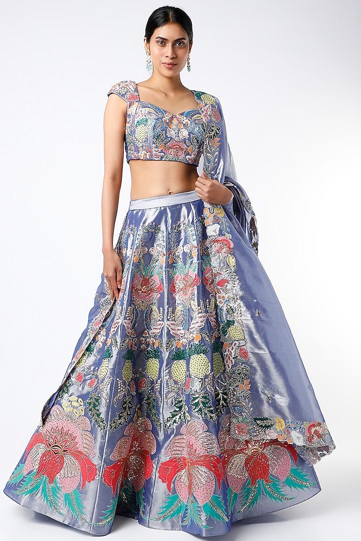 Shiny Pastel Blue Embellished Lehenga Set by Aisha Rao