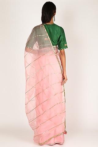 Pink & Emerald Green Embroidered Saree by Shivani Bhargava