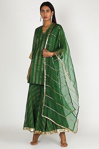 Emerald Green Chanderi Gharara Set by Shivani Bhargava