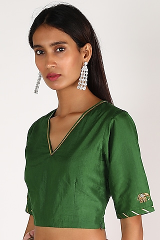 Emerald Green Embroidered Blouse by Shivani Bhargava