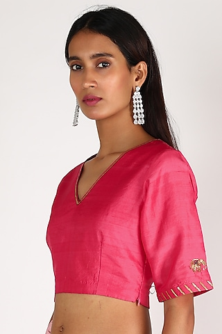 Fuchsia Embroidered Blouse by Shivani Bhargava