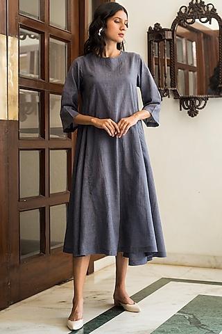 Deep Indigo Handwoven Dress by Aavidi