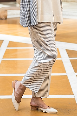 Off White Striped Pants by Aavidi