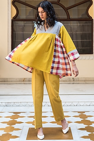 Multi Colored & Turmeric Yellow Top With Checks by Aavidi