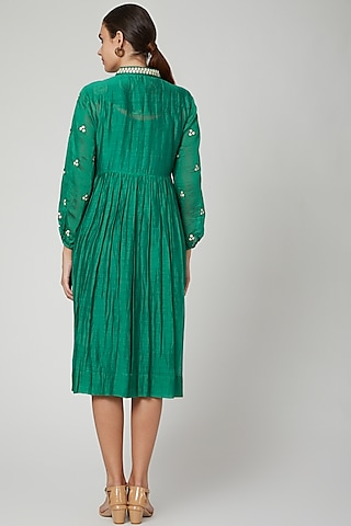 Emerald Green Embroidered Dress by Aavidi