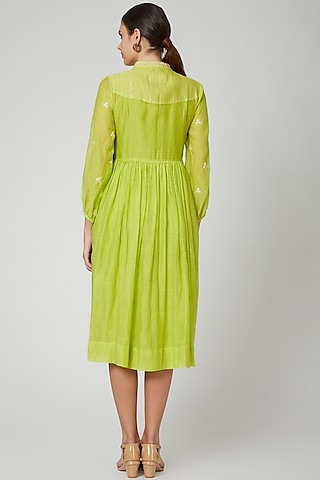 Lime Shell Embroidered Dress by Aavidi