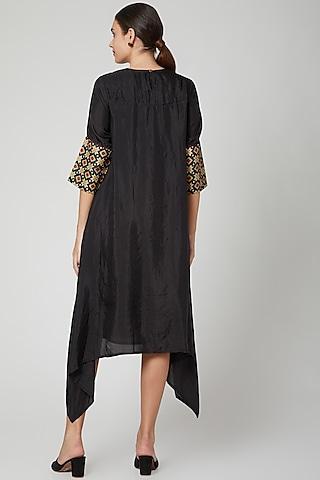 Black Printed Asymmetrical Dress by Aavidi
