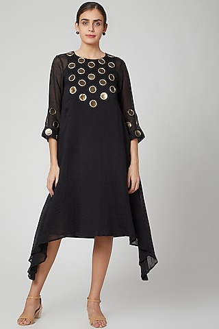 Black Asymmetrical Embroiered Dress by Aavidi