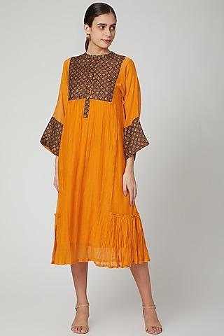Orange Kurta Dress With Kantha Fabric Detailing by Aavidi