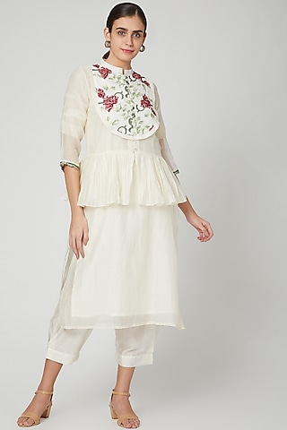White Kurta With Embroidered Jacket & Pants by Aavidi