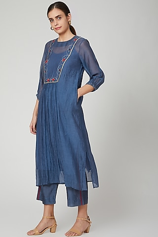 Cobalt Blue Hand Embroidered Kurta With Lining & Pants by Aavidi