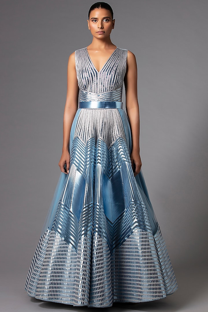 Ice Blue Metallic Structured Gown by Amit Aggarwal