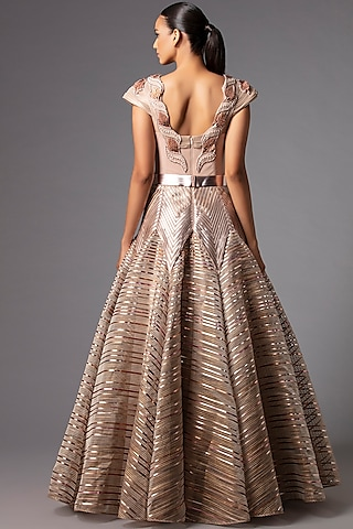 Blush Pink Metallic Structured Gown by Amit Aggarwal