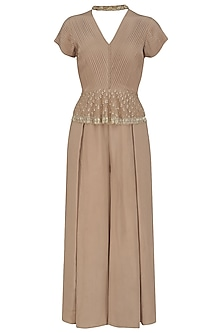 Hazelnut Pleated Jumpsuit by Aashna Behl
