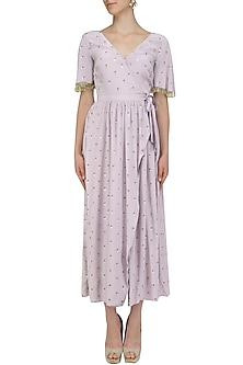 Lilac Wrap Dress by Aashna Behl