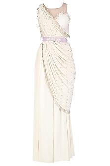 Ivory Drape Cape Set by Aashna Behl
