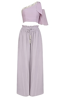 Lilac Embroidered Top with Mist Grey Frill Pants by Aashna Behl