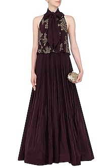 Oxblood Neck Bow-Tie Pleated Anarkali by Aashna Behl