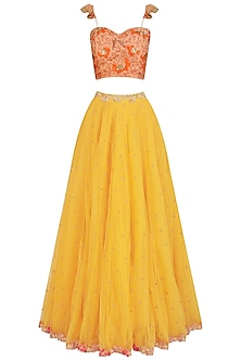 Mariegold Yellow and Coral Embroidered Lehenga Set by Aashna Behl