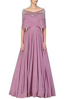 Onion Pink Pleated Tassel Gown by Aashna Behl