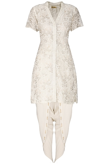 Ivory Cutwork Embroidered Jacket with Dhoti Pants by Aashna Behl